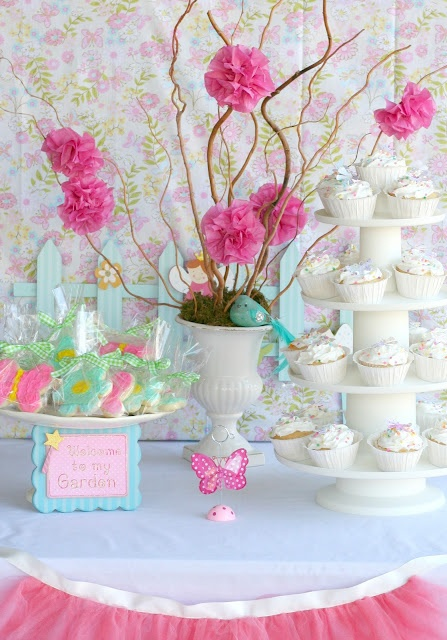 Ballerina kids party | Lovely table set up and use tulle netting for the front of the table to replicate a ballet skirt.