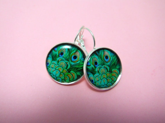 Peacock Feather Earrings  Collection Piece No by TheSmileEmporium, $12.00