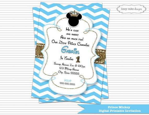 Prince Mickey Mouse Birthday Invitation Blue Amp Gold
