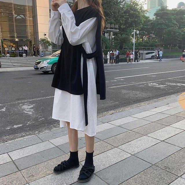 シャツワンピース オーバーベスト 韓国レディースファッション通販 krex ケーレックス ファッションスタイル ファッション レディース ファッション