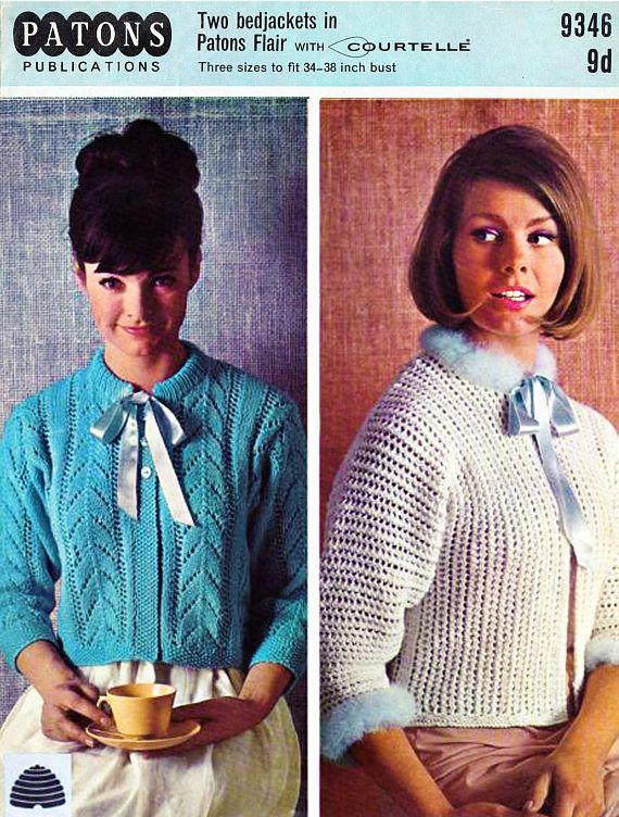 PDF Vintage 1960s Womens Ladies  Bedjacket Knitting Pattern