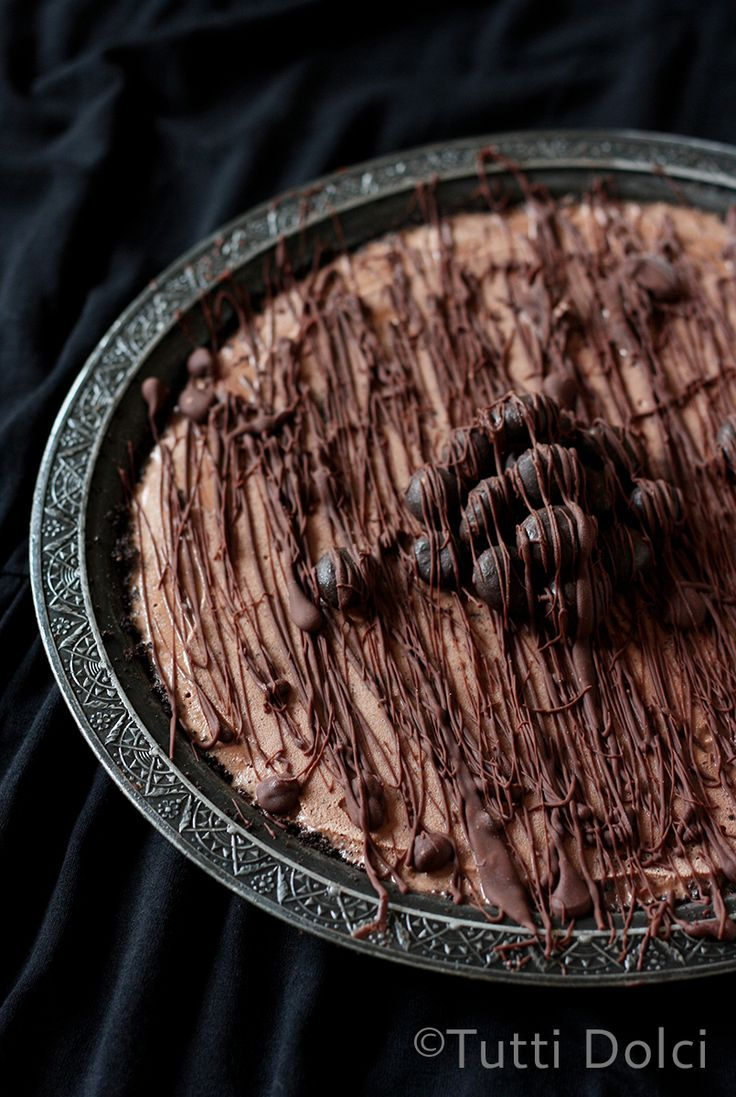 Chocolate-Espresso Ice Cream Pie - an easy and delicious ice cream pie topped with homemade magic shell and chocolate-covered espresso beans.