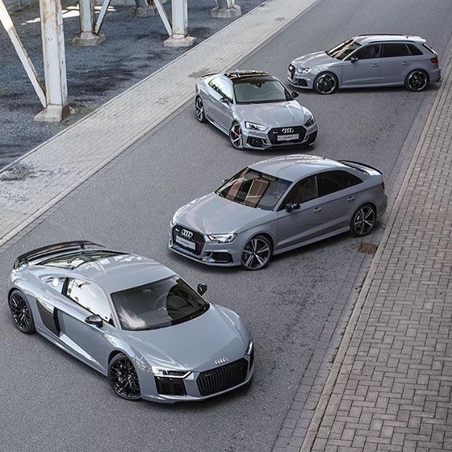 Nardo squad in full force - choose your wheels • R8 Plus - 610hp - 10 cylinders RS3 sedan - 400hp - 5 cylinders RS5 Coupe - 450hp - 6 cylinders RS3 Sportback - 400hp - 5 cylinders • pic @fabianraeker • ---- oooo #audidriven - what else ---- . . . . #Audi #R8 #RS3 #RS5 #AudiR8 #AudiRS3 #AudiRS5 #newRS3 #newRS5 #AudiRS3 #RS3sedan #quattro #4rings #grey #drivenbyvorsprung #Audicolor #carsbyaudisport #audisport #nardogrey #teamnardo