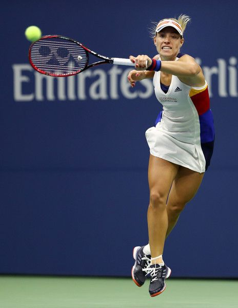 Angelique Kerber of Germany returns a shot to Naomi Osaka of Japan on Day Two of the 2017 US Open at the USTA Billie Jean King National Tennis Center on August 29, 2017 in the Flushing neighborhood of the Queens borough of New York City.