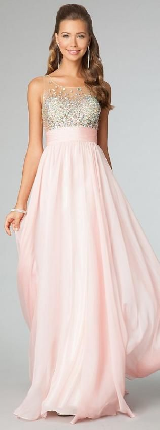 Cute Natural Pink Chiffon Long Sleeveless Evening Dresses Sale motodresses54101 #promdress