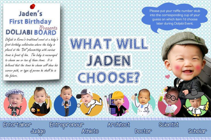 6-8 Character Personalized Doljabi Board - Korean 1st Birthday