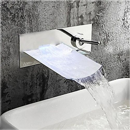Single Handle Chrome Finish Waterfall Wall Mount Bathroom Sink Faucet At  FaucetsDeal.com