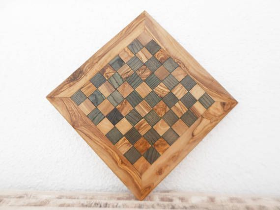 Fathers Day Gift Rustic Wooden Chess Board Set Engraved