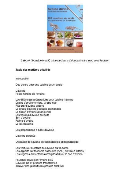 Avoine Divine propriétés et bienfaits - 260 recettes de santé: la table des matières détaillée by recettes_avoine, via Slideshare