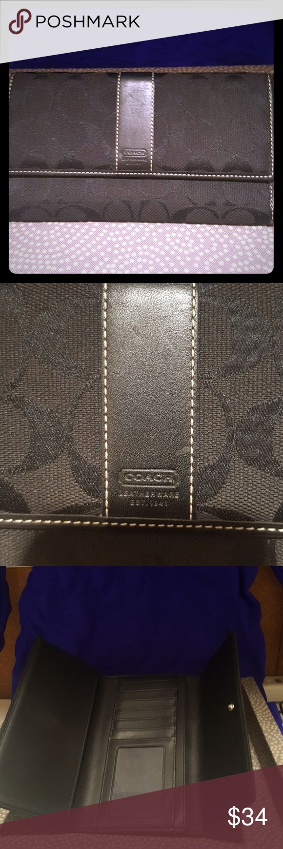 Coach Signature Jared Canvas Wallet Signature Jared canvas Define texture and hand finished leather trim Glovetanned leather inside Holds 7 credit cards and has one window holder A side zipper pocket Snap close Coach Bags Wallets