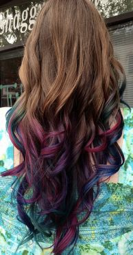 Purple and navy tips in brunette hair = gorgeous!!