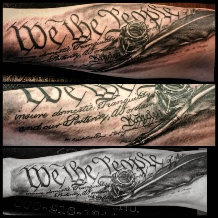 Patriotic tattoos would appear to be in full swing. #theconstitution #preamble #wethepeople #blackan - faelanwilsontattoos