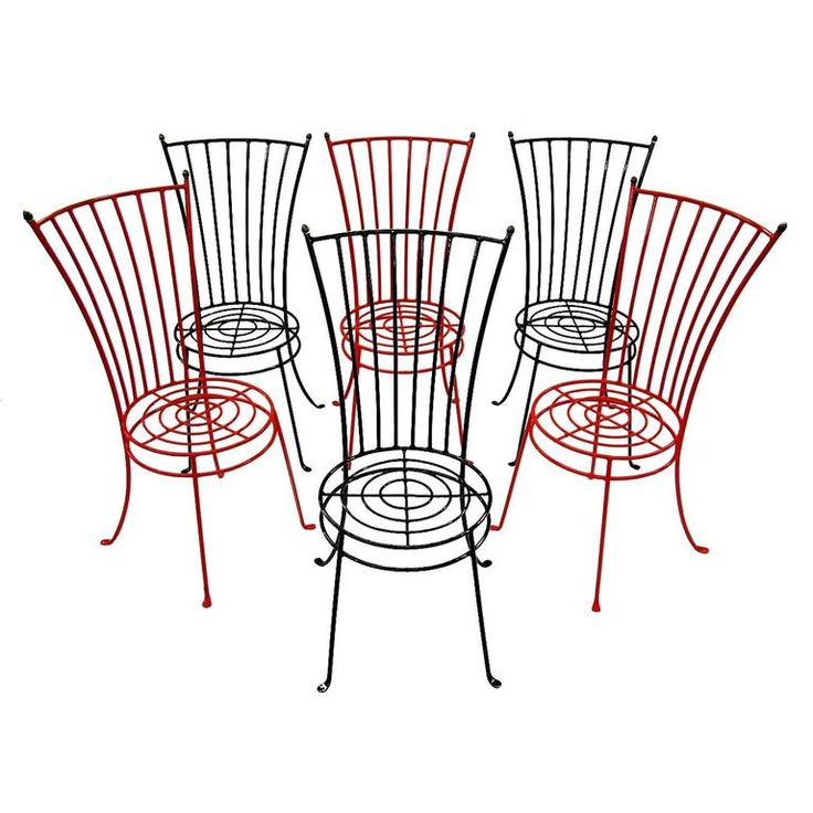 Set of Six 1950s French Midcentury Iron Garden Chairs | From a unique collection of antique and modern dining-room-chairs at https://www.1stdibs.com/furniture/seating/dining-room-chairs/