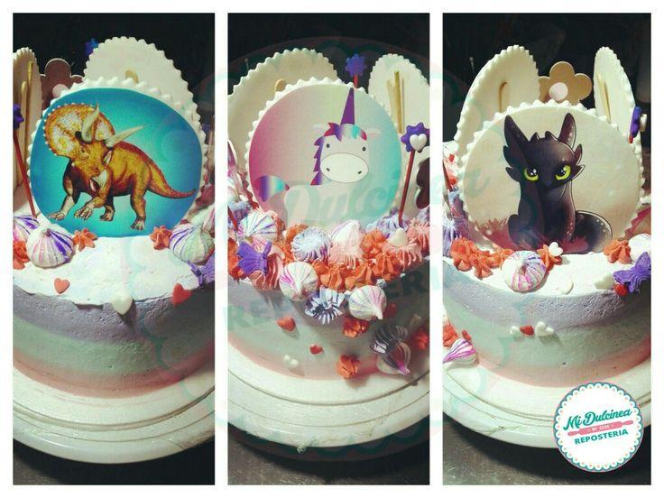 Torta temática. Chimuelo. Unicornio. Triceratop.