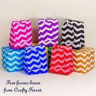 Crafty Ferret: Gratis para descargar y raya del galón del zigzag boda de la impresión o el recuerdo de la fiesta de cajas de cajas de regalo, bolsas y etiquetas