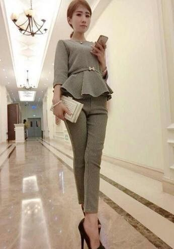 Newest 2016 Autumn Women Casual Suits Three quarter Sleeve O-neck Houndstooth Pattenr Pullover Shirt + ninth Pencil pants