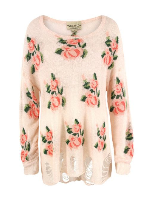 roses: Wildfox Sweaters, Wildfox Couture, Dreams Closet, Style, Prairie Rose, Wildfox Pullover, Georgia Peaches, Floral, Wild Foxes