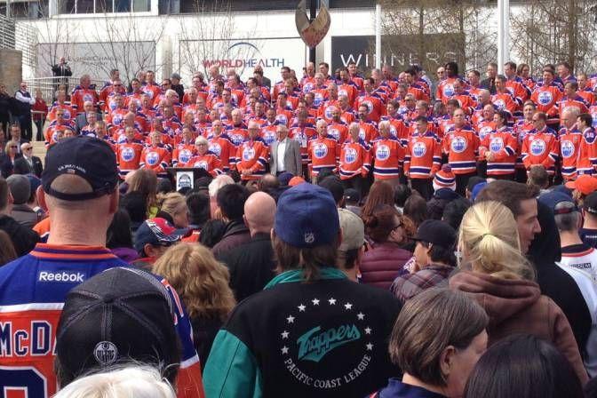 Oiler rally at City Hall for Rexall farewell.
