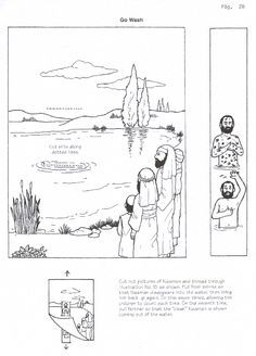 Naaman healed of leprosy craft 2 Kings 5. Free printable, picture slides through slits so children can dunk Naaman into the water and have him come up clean.