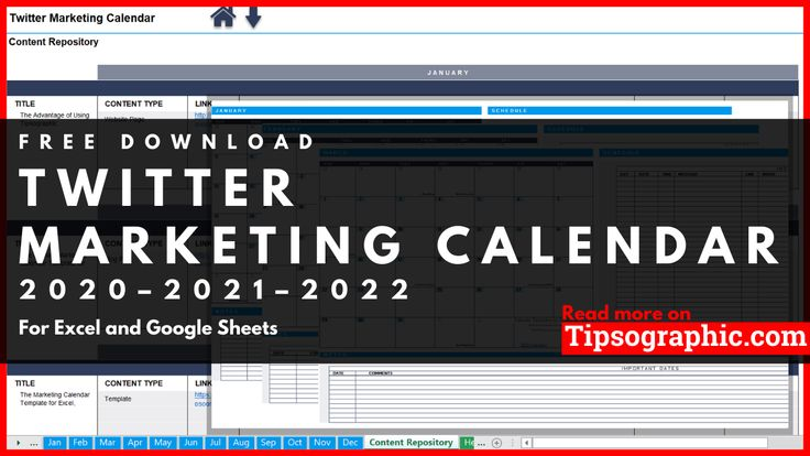Twitter Marketing Calendar Template for Excel, Free
