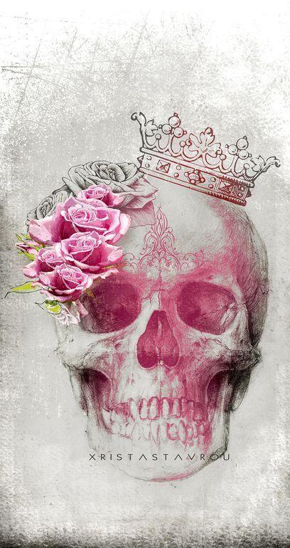 "Saatchi Art Artist: Xrista Stavrou; Digital 2013 Drawing ""Skull Art "" saatchiart.com"