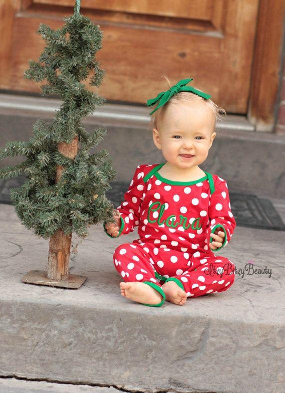 Girls polka dot Christmas pajamas full piece red white green trim personalized custom name monogram monogrammed newborn