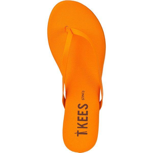TKEES Zincs Flip Flop Orange Leather ($50) ❤ liked on Polyvore featuring shoes, sandals, flip flops, orange leather, leather shoes, genuine leather upper shoes, leather flip flops, tkees and leather upper shoes