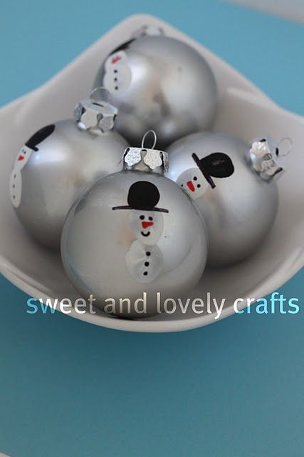 Snowmen Christmas Ornaments from Sweet and Lovely Crafts