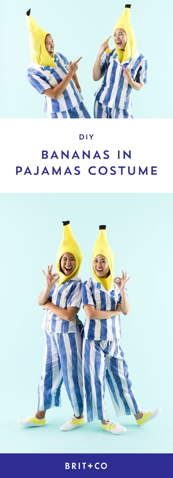 DIY Bananas in Pajamas BFF Halloween costumes with this easy outfit tutorial.