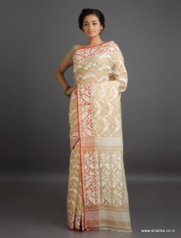 Neera Brown and Beige Translucent Fine #JamdaniCottonSaree