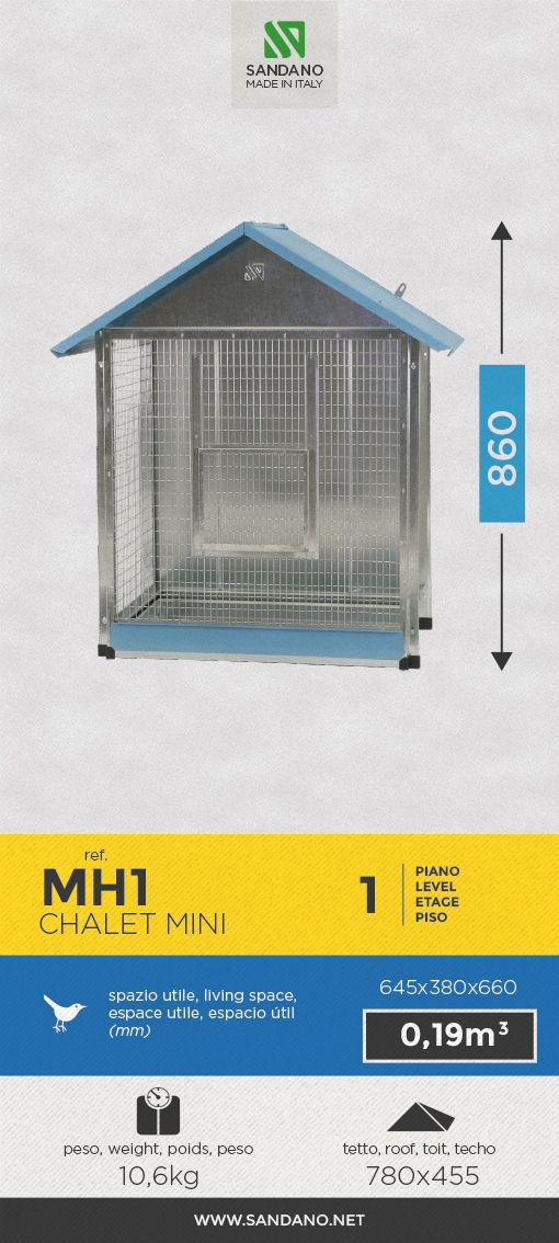"""#Voliera per uccelli • Bird's #aviary"""" • #Voliere pour les oiseaux • #Pajarera para aves ----- Chalet Mini (MH1), MADE IN ITALY"""