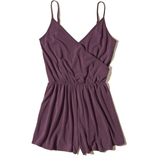 Hollister Wrap Front Sueded Knit Romper ($30) ❤ liked on Polyvore featuring jumpsuits, rompers, purple, knit romper, playsuit romper, wrap front romper and purple romper