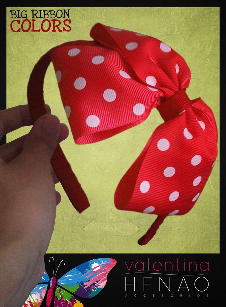 Diadema moño grande cinta pepas rojo