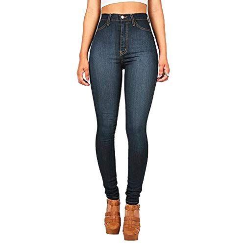 cb0b233e6a Hibote Jeans Donna Jeggings a Vita Alta Donne Pantaloni Denim ...