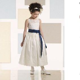 White Lace Taffeta Royal Blue Ribbons Flower Girl Dresses
