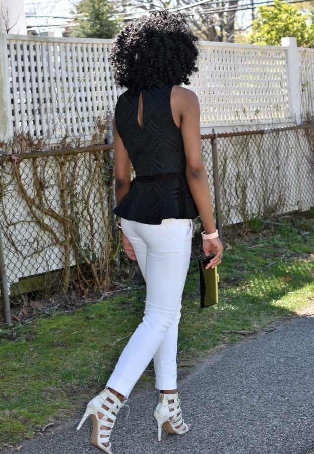 White trousers + black peplum top (4)