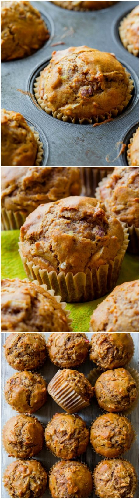 Hearty, healthy, and satisfying whole wheat muffins filled with sweet apples and plenty of cinnamon spice! With zero refined sugar!