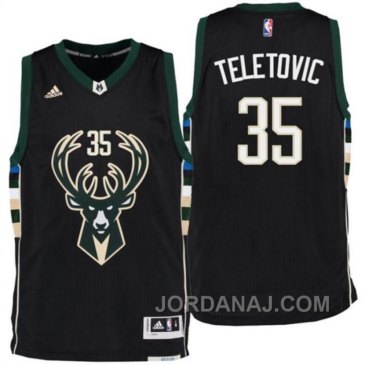 Milwaukee Bucks Mirza Teletovic Alternate Black New Swingman Jersey