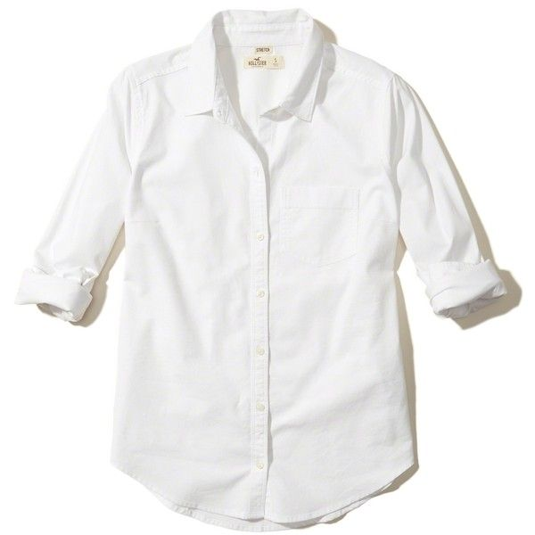 Hollister Button-Front Oxford Shirt (2.405 RUB) ❤ liked on Polyvore featuring tops, white, white top, button front top, pocket tops, oxford shirts and white oxford shirt