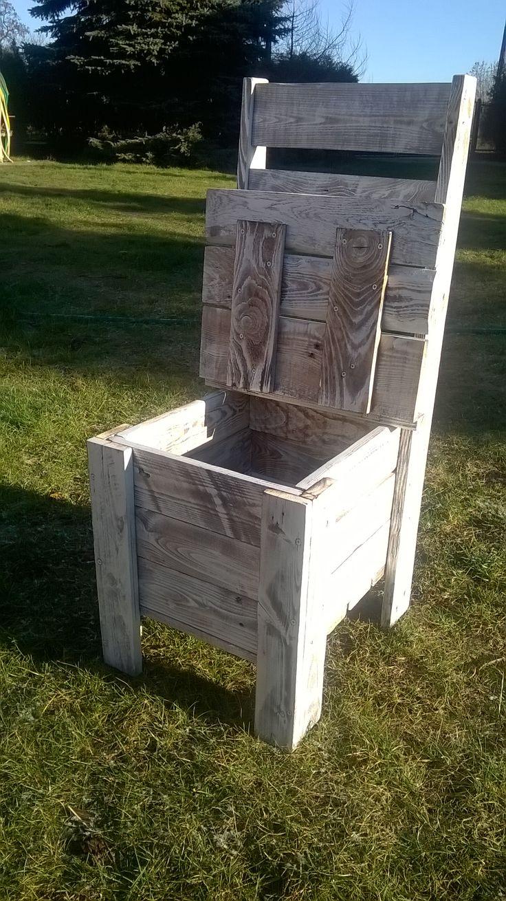 Meble z palet krzesło ze schowkiem z-eco