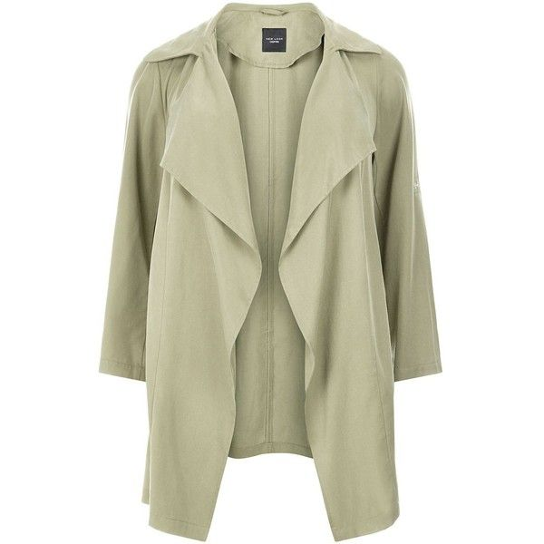 Plus Size Khaki Waterfall Trench Coat (£40) ❤ liked on Polyvore featuring outerwear, coats, plus size coats, waterfall coat, womens plus coats, trench coat and waterfall trench coat