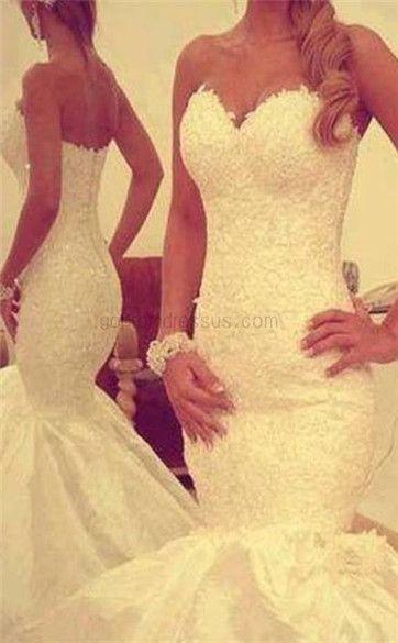 2014 New Custom Sweetheart Sleeveless Backless Mermaid Bridal Wedding Dress Gown