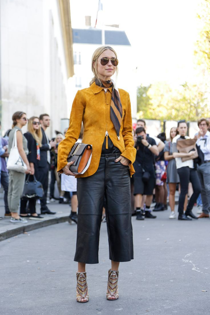 Ways To Wear Culottes For Spring Leather Culottes Leather And Street Styles