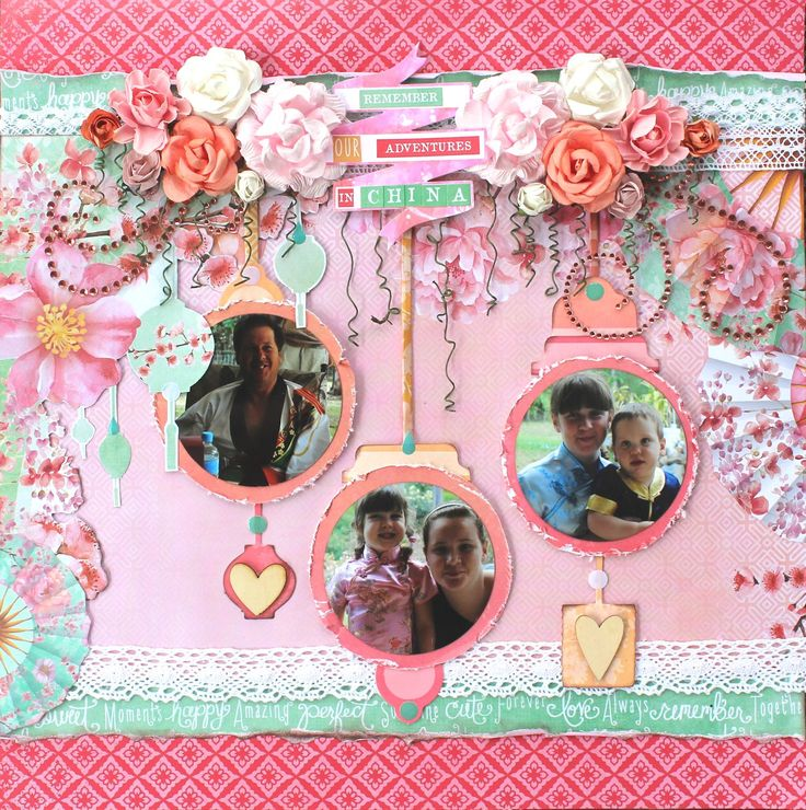 'After China' Layout Alison Bevis DT Kaisercraft using Cherry Blossom Collection ~ Scrapbook Pages 1.