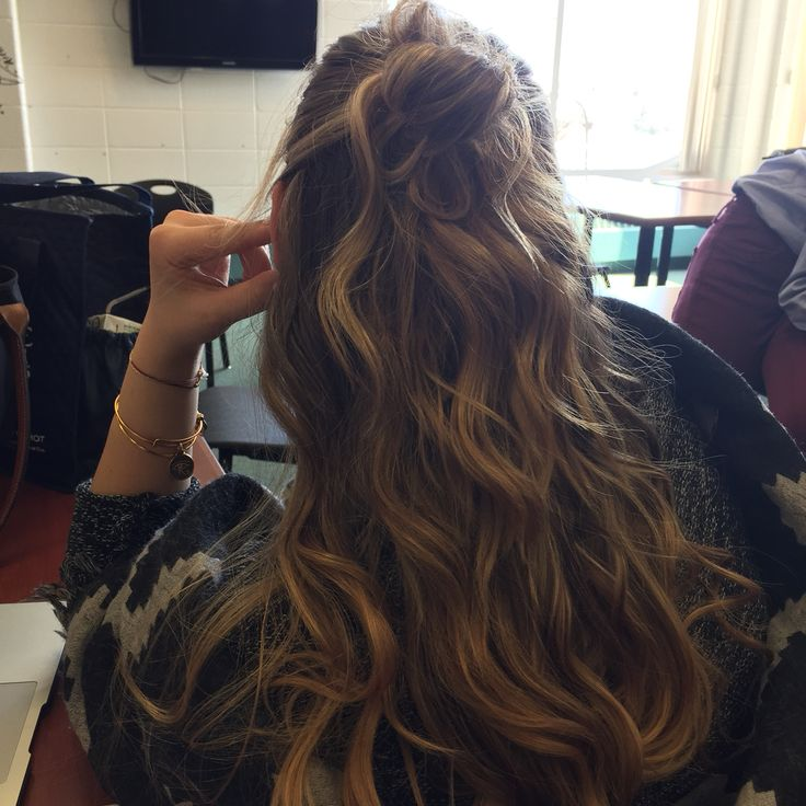 brown and blond ombré half up half down bun