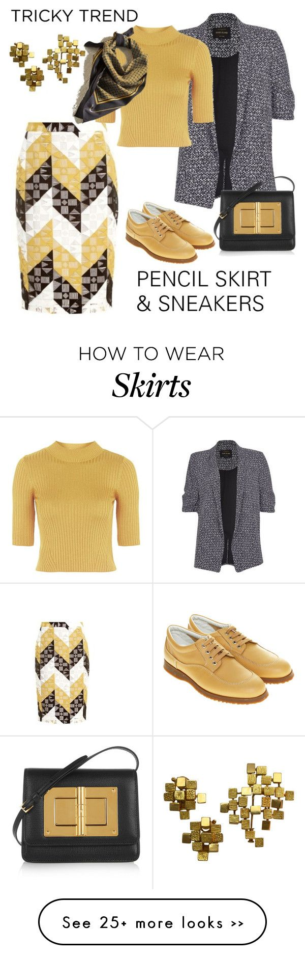 """TRICKY TREND: PENCIL SKIRT & SNEAKERS"" by granmaboat on Polyvore featuring A.L.C., River Island, Topshop, Hogan, Tom Ford and Mauboussin"