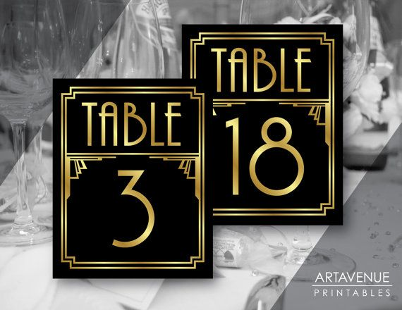 Art Deco Party Table Number Signs Printables Gatsby Wedding
