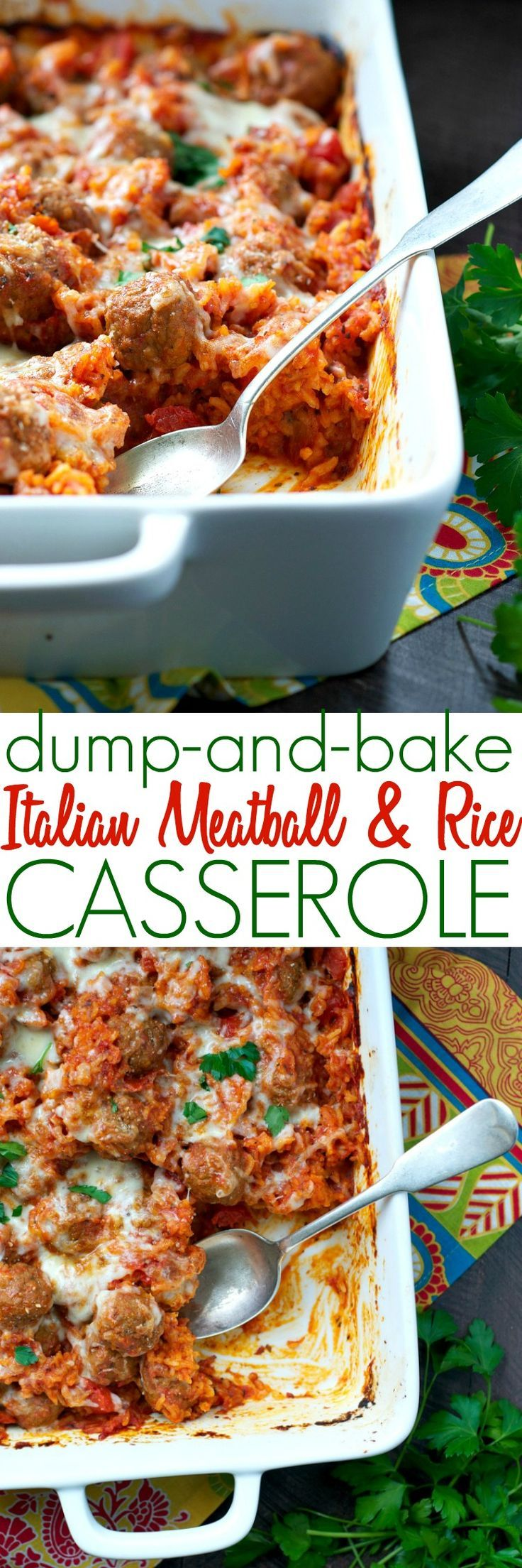 There's no prep necessary for this Dump and Bake Italian Meatball and Rice Casserole! It's the perfect easy dinner solution for your busy weeknights – and your family will love the cozy comfort food! #ad #Rosina #WhatsForDinner /rosinafoods/