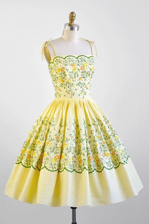 yellow Cotton Cupcake Party Dress with Floral Embroidery #fashion #floral #dress #1950s #partydress #vintage #frock #retro #sundress #floralprint #petticoat #romantic #feminine