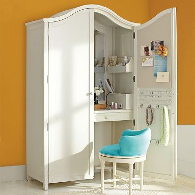 Vanity Armoire - ultimate get ready space with mirror, lots of drawers and cubbies to store makeup, hair accessories, and jewelry